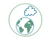Cloud, Circle, Earth, Combo applique machine embroidery design comes in multiple sizes.  INSTANT DOWNLOAD