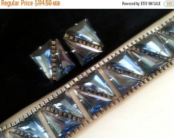 Now On Sale Blue Rhinestone Demi Parure * 1950's 1960's Vintage Jewelry * Mad Men Mod * Old Hollywood Glamour * Retro Bracelet Earring Set *