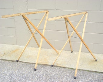 Pair Wood Wallpaper Table Legs - Folding Industrial Desk - Portable Adjustable Trusses - Printers Artist Desk - Primitive Architectural #1