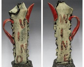 "Ceramic Sculptures - Red Pitcher | ""Wine & Vino"""