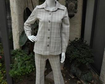 Vintage 1970's Grey Pant Suit - Size 8