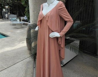 Vintage 1970's Eva Gabor Beige Evening Dress - Size 14