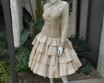Vintage 1950's Maxwell Shieff Beige Lace & Ruffle Dress with Matching Lace Jacket - Size 6