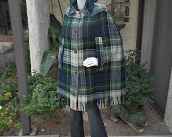 Vintage 1970's Wool Green & Blue Plaid Cape with Fringe - Size S/M