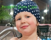 Lycra SWiM CaP - Navy Blue POLKA DOTS - Sizes - Baby , Child , Adult , XL Made from Spandex / Swimsuit Swimming Fabric - Froggie's Swim Caps