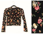 Floral Velvet Long Sleeve Crop Top Made to Order Floral Goth NYE Holiday