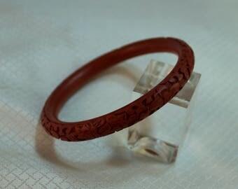 Deep Red Carved Cinnabar Floral Bracelet, Chinese Cinnabar Bangle Bracelet