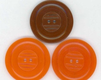 3 Carved Celluloid Coat Buttons ~ 1-3/8 inch 35mm ~ 2 Pumpkin Orange and 1 Chocolate Brown Celluloid Sewing Buttons