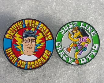 2-Pack Hank Hill/Otto Mann Grateful Dead pin set  - Dead and Company, The Simpsons, King of the Hill, 420, 710