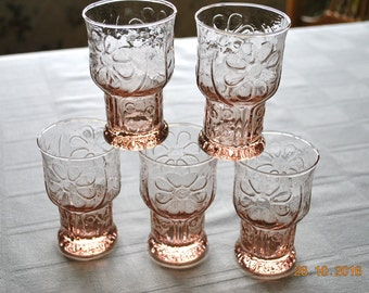 5 - Libbey Pink Country Garden Juice Glasses