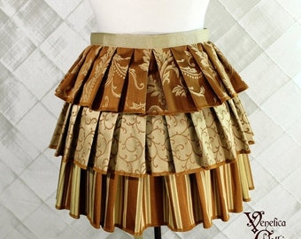 """10% OFF Ruffle Bustle Overskirt - 3 Layer, Sz. M - Pumpkin and Gold - Fits 27""""-62"""" -- Ready to Ship"""