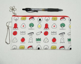 "Padded Zipper Pouch / Pencil Case / Cosmetic Bag Made with Japanese Cotton Fabric ""Inside the Obento Box"""