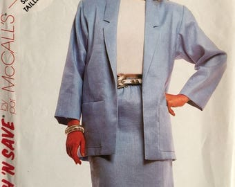 Stitch N Save, Size 2966, 8-10-12, Misses' Jacket and Skirt Pattern, UNCUT, Unlined Jacket, Vintage 1987, Suit, Career Wear, Easy McCall's
