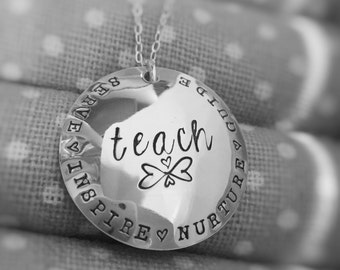 Teach Teacher's Necklace Sterling Silver Inspire Nurture Serve Guide Gift for Teacher Christmas or End of Year