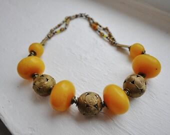 storewide sale TRIBAL Vintage Large Amber Bead Studio necklace bakelite