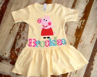 Yellow Peppa Pig Personalized Dress, Long Sleeved or Short, 3-6m to 8yrs