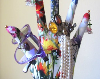 COLOSSAL Style Mystic Meadow Fabric Jewelry Display HAND-Stand