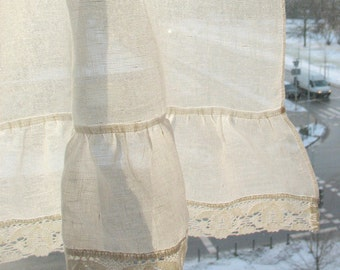 Ruffled Curtains White Curtains Vintage Curtains Cafe Curtains Washed Linen White Kitchen Curtains Lace Panels Curtains Burlap Curtains