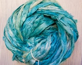 Hand dyed Sari Silk Ribbon in two shades of blue Worm Goo by PenandHook
