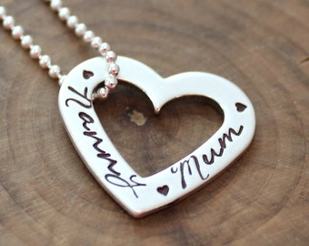 Personalized Heart Necklace, Sterling Silver, Family Necklace, Hand Stamped Necklace, Add More Hearts, More Names, Gift For Wife - Holly
