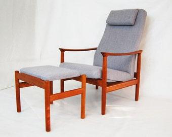SALE: Scandinavian Teak Reclining Lounge Chair and Ottoman with Headrest