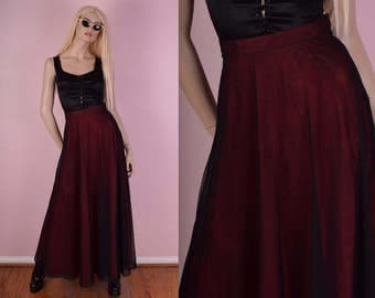 90s Red and Black Mesh Maxi Skirt/ US 10/ 1990s