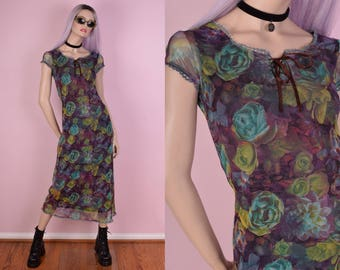 90s Floral Mesh Dress/ Small/ 1990s/ Short Sleeve