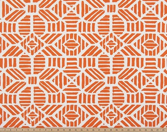 Orange and White Curtains  Ribble Monarch Rod Pocket - 63 72 84 90 96 108 or 120 Long by 24 or 50 Wide