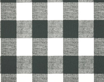 Dark Gray and White Buffalo Check Curtains, Gunmetal, Rod Pocket  63 72 84 90 96 108 or 120 Long by 24 or 50 Wide   Lined