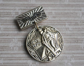 "Vintage Soviet Russian badge,medal.""WW2- 30 years of victory"""