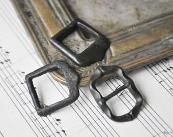 Antique belt buckles with original patina. Set of 3.