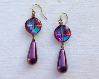 Purple Earrings/Dark Purple Earrings/Teardrop Earrings/Crystal Earrings/Czech Glass Earrings/Purple Crystal Earrings/Bridesmaid Earrings
