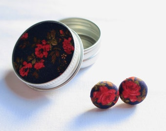 Liberty London Earrings or Cuff Links in matching tin. Red Rose on Navy 15mm fabric buttons. Mother's Day Gift.