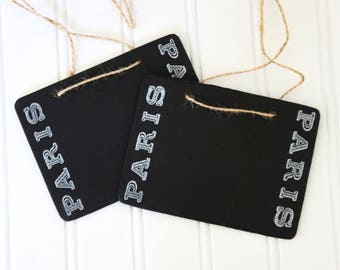 Chalk board signs, chalk board tags, set of chalk board signs stamped chalk board signs Paris french home decor by My Sweet Maison.