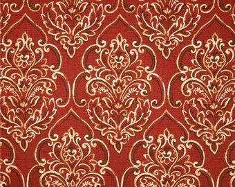 Two 20 x 20  Custom Designer Decorative Pillow Covers - Duralee Damask Brick Red