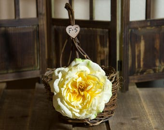 Rustic twig flower girl basket decorated with light yellow rose personalized with bride and groom initials other flowers to select from