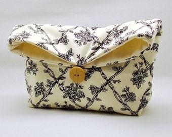 Foldover clutch, Fold over bag, clutch purse, evening clutch, wedding purse, bridesmaid gifts - Vines (Ref. FC29 )