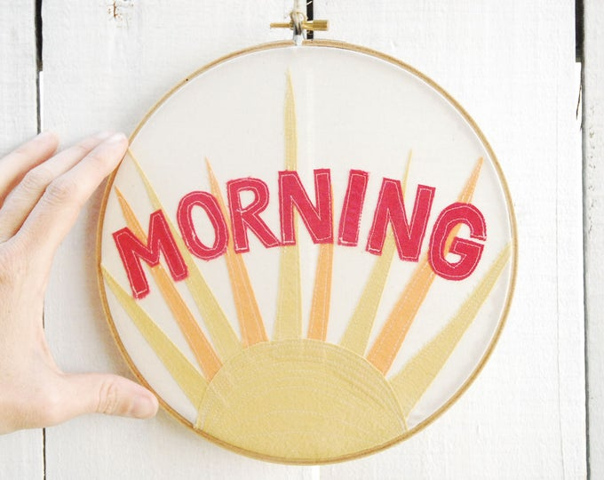 MORNING Wall Hanging, Morning Sun Embroidery Hoop, Quilted Fiber Art Hoop, Mini Art Project, Hoop Art, Stitch Art, OOAK Wall Hanging