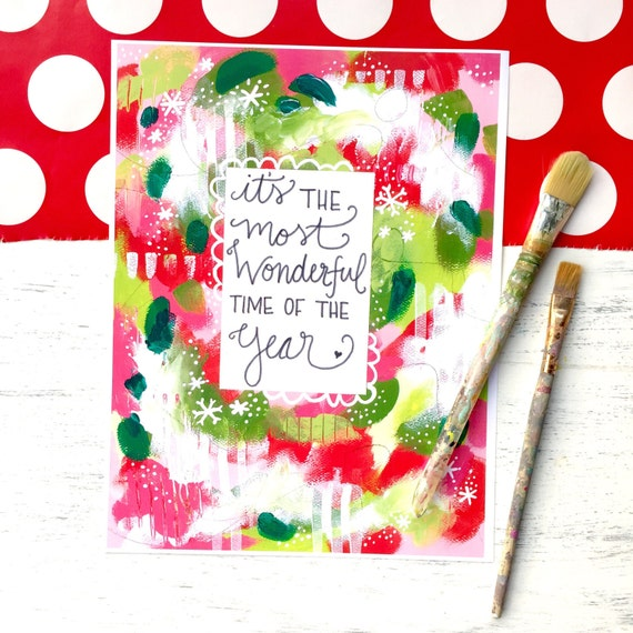 "Inspirational Christmas Art Print: ""Most Wonderful Time of the Year"" 8.5x11 inch Art Print"