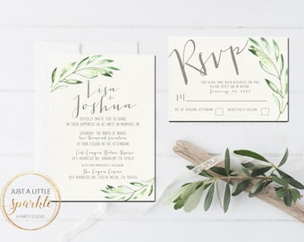 Olive Leaf Wedding invitation, Wedding invite, Modern wedding invite, Printable wedding invitation, Olive branch wedding invitation