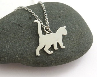 Kitten Pendant Necklace – Cat Necklace - Sterling Silver