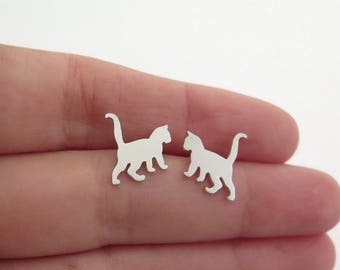 Kitten Earrings - Sterling Silver Cat Stud Earrings - Cat Lover Gift