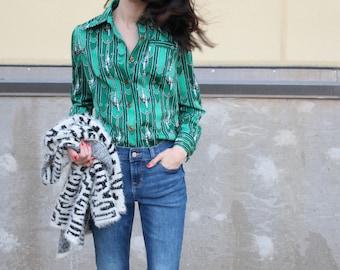 vintage retro tassle print collared blouse