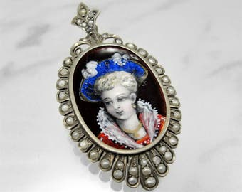 SALE! Antique Victorian Enamel Locket French Silver Seed Pearl Portrait Pendant