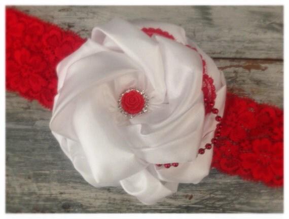 Valentine headband, red and white hair piece, lace headband, red and white ott, valentine ott, vintage hair piece