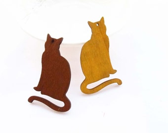 Dyeing Series - 6 PCS 33x 52mm  Variety of Colors Filigree Laser Cut  Cat Shape Wood Dangle/ Wood Charm/Pendant / Wood earrings NM181