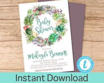 Baby Shower Invitation, Succulent Greenery Floral Wreath Baby Shower invitation, Watercolor Floral Invitation, DIY EDITABLE Instant Download