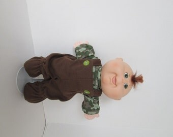 "11"" Newborn Cabbage Patch Brown Footed Bib Overalls with Camo Print Shirt"