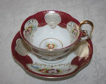 Vintage Cup and Saucer Set Made In Occupied Japan Fine Bone China Crown White Burgundy Wine Red Gold Floral Flowers