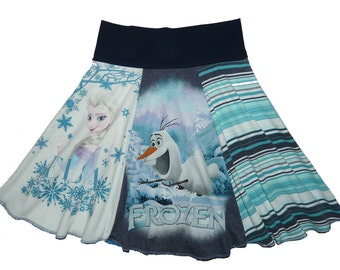 Disney Frozen Girls Size 7 8 Upcycled Hippie Skirt recycled t-shirt clothing from Twinkle